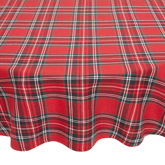 Oval tablecloth in cotton twill with tartan motif