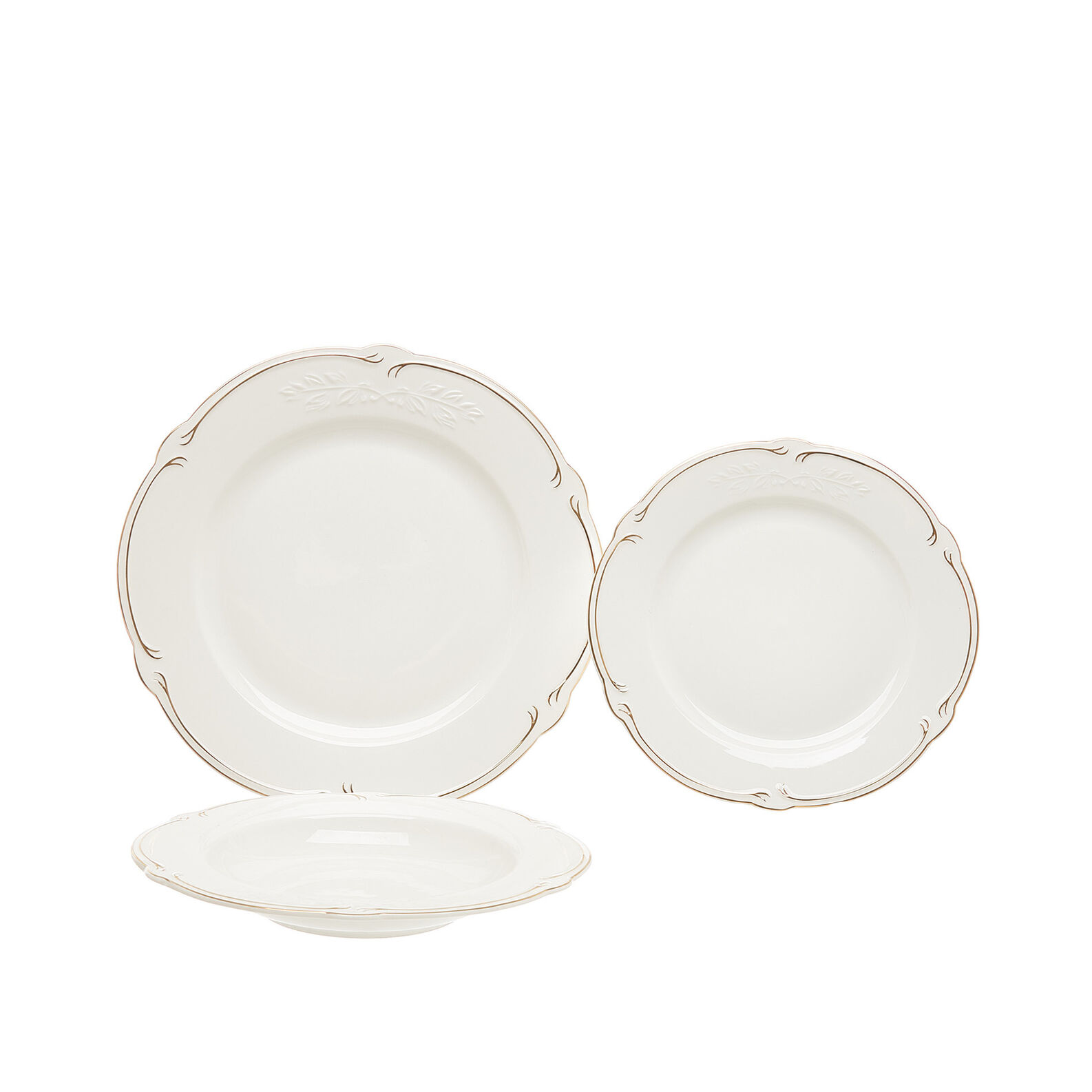 Set of 18 new bone China plates with gold stripe