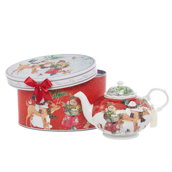 Teapot in new bone China with kittens motif