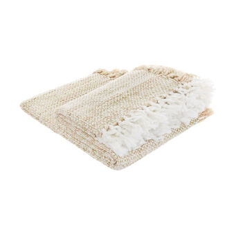 Knitted throw with fringing