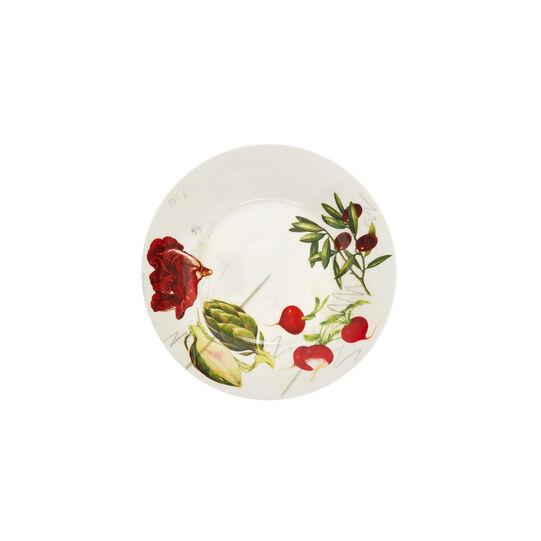 Piatto frutta fine bone china decoro vegan La Cucina Italiana