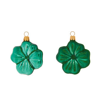 Hand-blown and decorated glass four-leaf clover made by European artisans