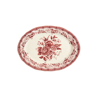 Victoria oval ceramic plate with floral decoration