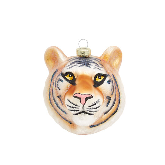 Hand-decorated tiger decoration