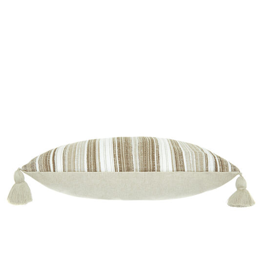 Cotton and linen cushion with tassels (35x55cm)