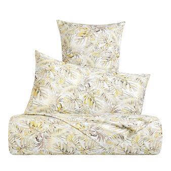 Cotton percale duvet cover with leaf pattern