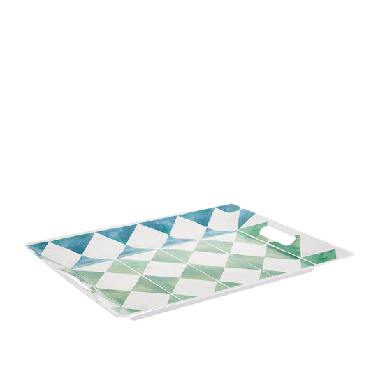 Melamine tray with diamond decoration