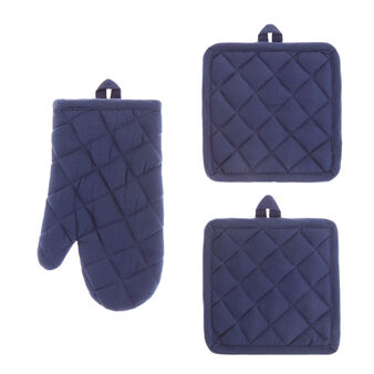 Set of 2 pot holders and oven mitt in solid colour cotton twill