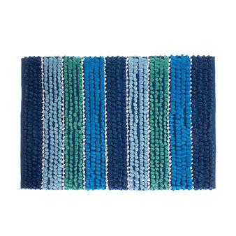 Cotton bath mat with coloured stripes