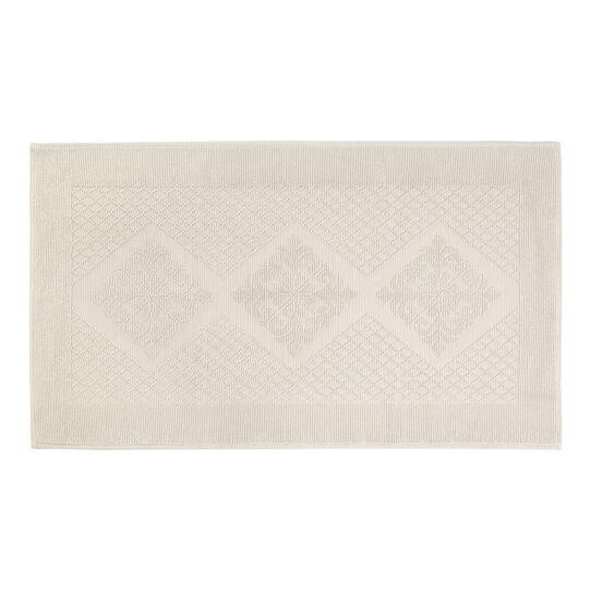 Short pile jacquard bath mat