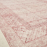 Hand-printed cotton rug with damask motif