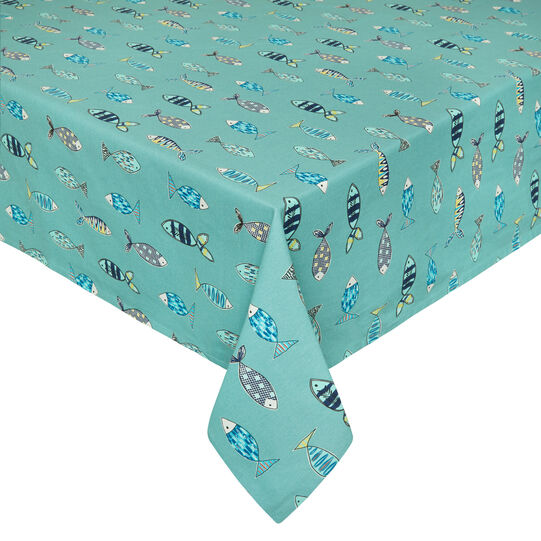 Water-repellent 100% cotton tablecloth with fish print