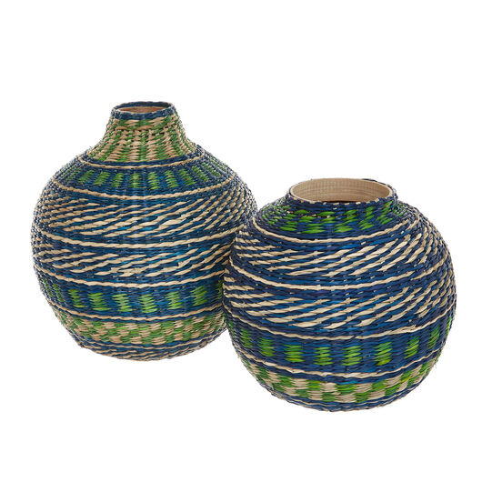 Hand-woven seagrass and bamboo vase