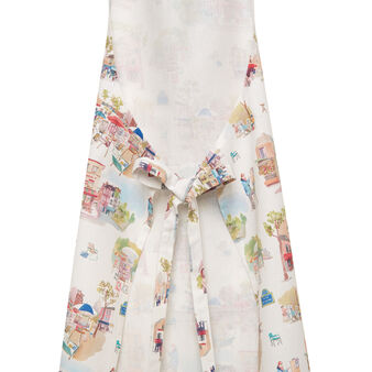 Kitchen apron in 100% cotton with Montmartre print