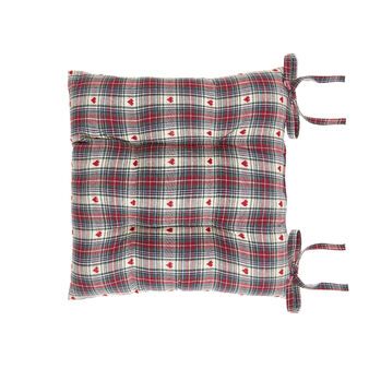 100% cotton seat pad with tartan and hearts motif