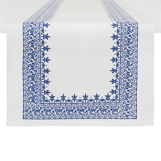Table runner in 100% cotton with printed edging