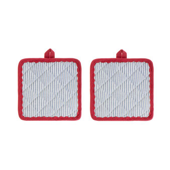 Set of 2 pot holders in 100% cotton with stripes and trim