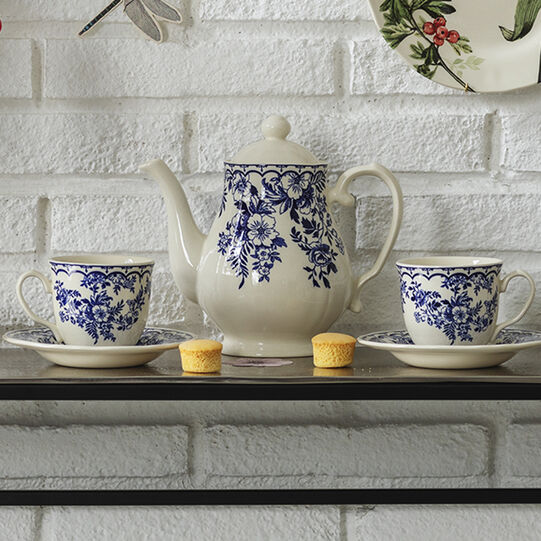 Blue Flower ceramic teapot
