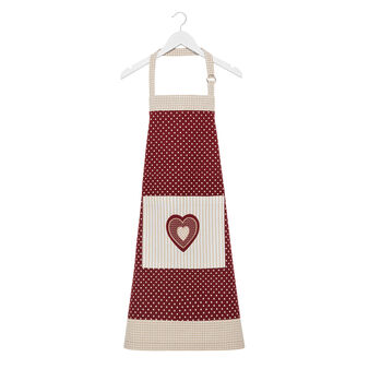 Apron in 100% cotton with polka dots and stripes