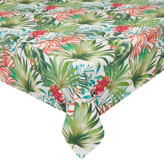 100% cotton tablecloth with tropical leaf print