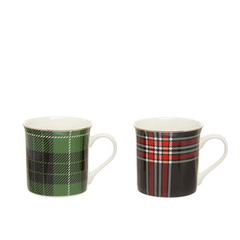Set 2 mugs new bone china tartan