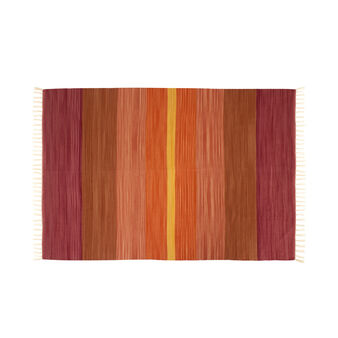 Dhurrie rug in pure cotton with shaded stripes