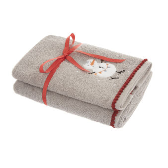 Set of 2 100% towels with embroidered snowman