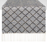 100% cotton mélange table runner with diamond weave