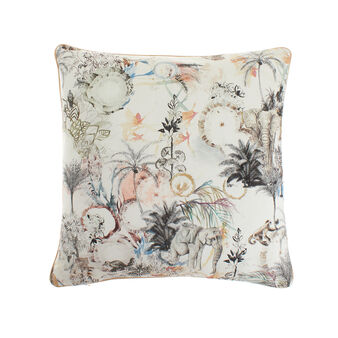 Cotton cushion with elephants print