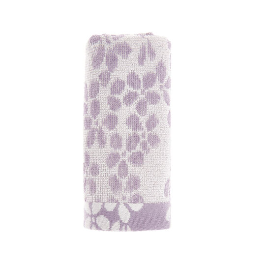 Cotton jacquard face cloth with flower pattern