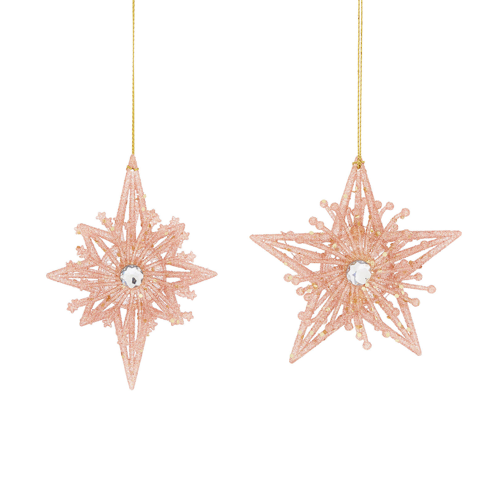 Assorted star decoration with glitter
