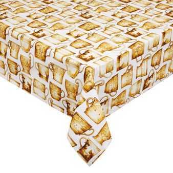 Cotton twill tablecloth with cups print