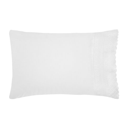 Portofino Sangallo lace pillowcase in 100% cotton percale