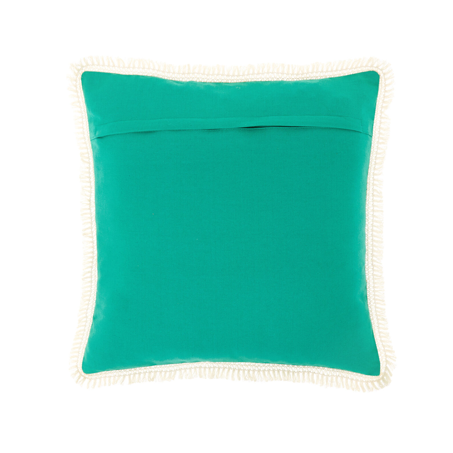 Solid colour cushion with fringe