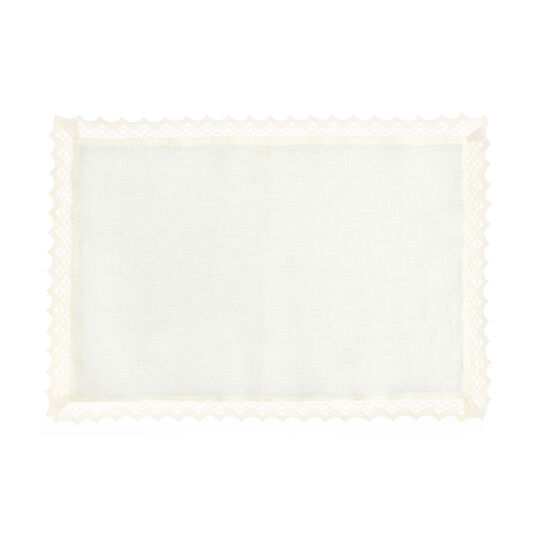100% linen table mat with lace trim