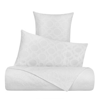 Cotton jacquard duvet cover with circle pattern