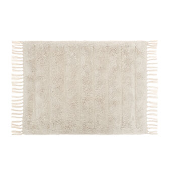 100% cotton bath mat with fringes