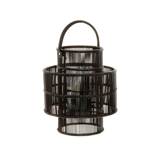 Rattan lantern with leather handle