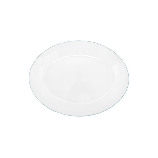 Oval clear glass plate