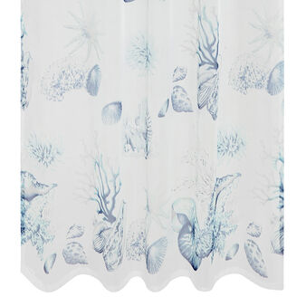 Curtain with fish print and hidden loops