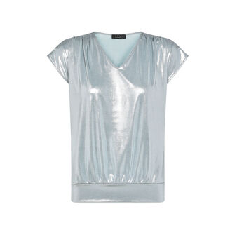 Koan T-shirt with V-neck in glossy fabric