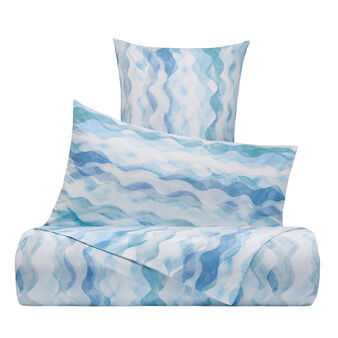 Organic cotton duvet cover with wave pattern