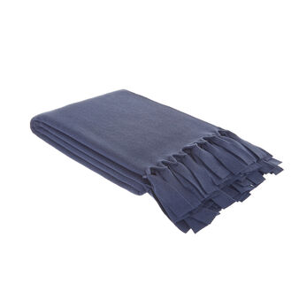 Fleece throw with fringe