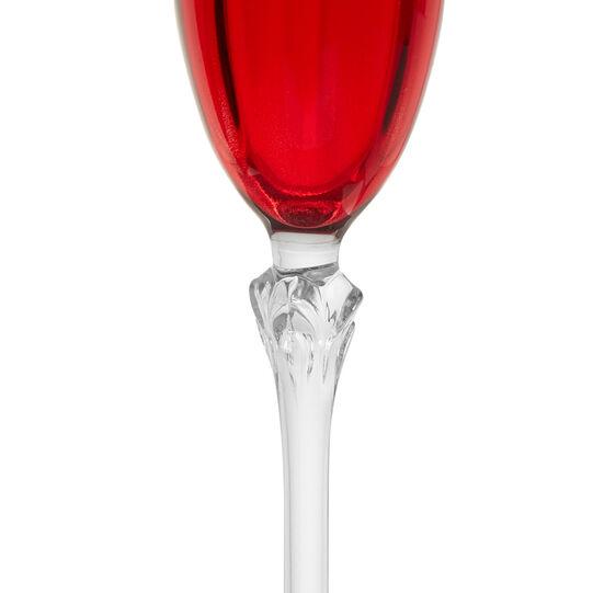 Set 6 calici flutes in vetro rosso