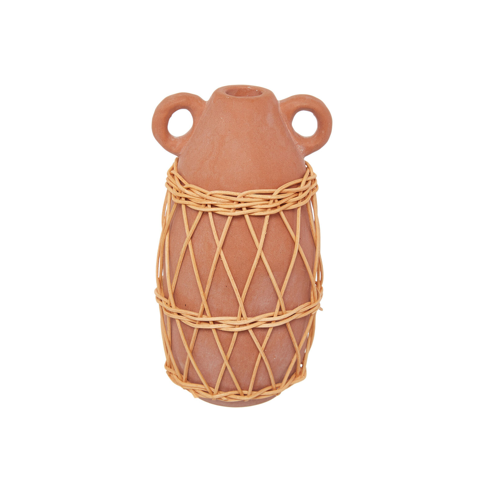 Ceramic candlestick with rattan decoration