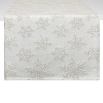 Cotton and lurex snowflake table runner
