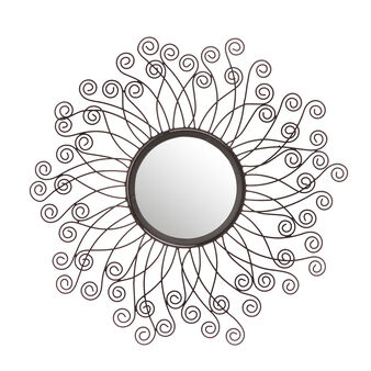 Round mirror with metal curls.