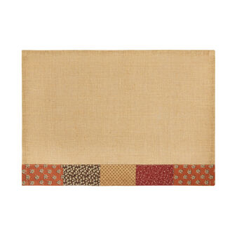 Lurex and jute table mat with patchwork edging