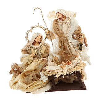 Hand-made Holy family in golden garments