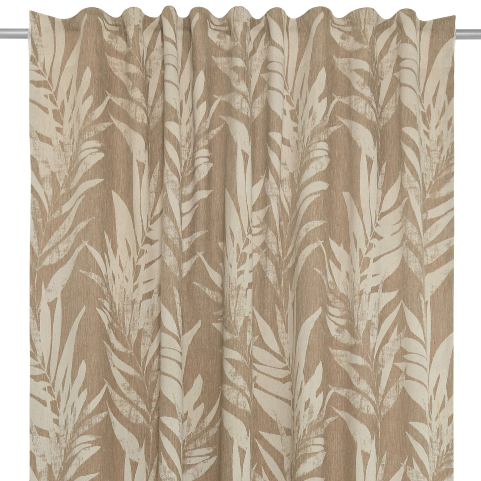 Cotton blend curtain with hidden loops and leaf design